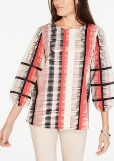 Alfani Printed Crochet-Inset Tunic, Created for Macy's