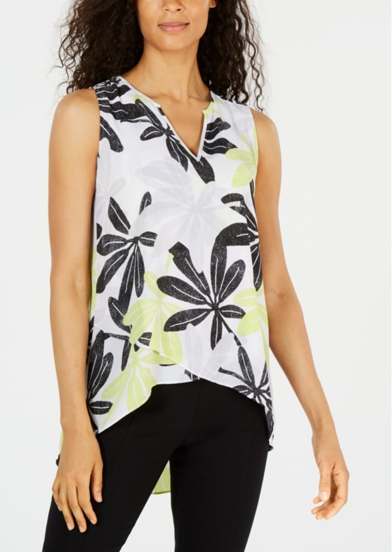 Alfani Printed Crossover-Hem Blouse, Created for Macy's