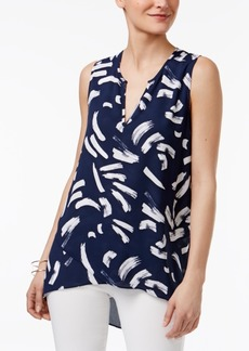 Alfani Petite Printed Crossover High-Low Top, Created for Macy's
