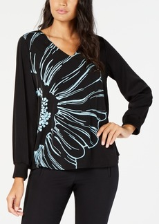 Alfani Printed Cuffed-Sleeve Blouse, Created for Macy's
