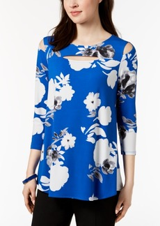 Alfani Petite Printed Cutout-Neck Cold-Shoulder Top, Created for Macy's