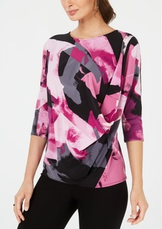 Alfani Printed Draped-Front Top, Created for Macy's