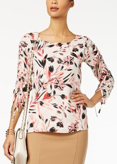 Alfani Petite Printed Drawstring-Sleeve Top, Created for Macy's