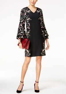 Alfani Printed Floral Bell-Sleeve Dress, Created for Macy's