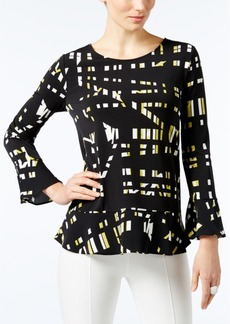 Alfani Petite Printed Flounce Top, Only at Macy's