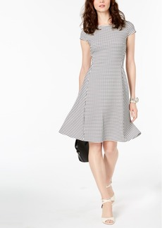 Alfani Printed Jacquard Fit & Flare Dress, Created for Macy's