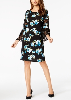 Alfani Petite Printed Lace-Inset Dress, Created for Macy's