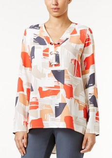 Alfani Petite Printed Grommet Top, Only at Macy's