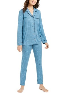 Alfani Super Soft Printed Long-Sleeve Top & Pajama Pants Set, Created for Macy's