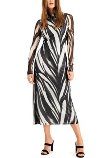 Alfani Printed Mock-Neck Mesh Dress, Created for Macy's