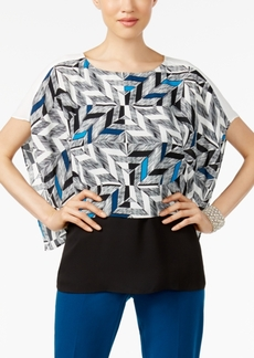 Alfani Petite Printed Colorblocked Top, Created for Macy's