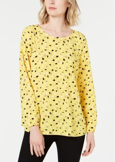 Alfani Printed Pintucked Top, Created for Macy's