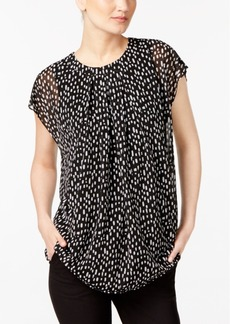 Alfani Printed Pleated Blouse, Created for Macy's