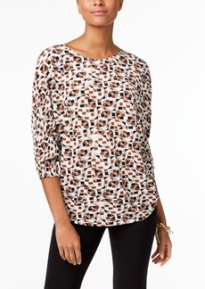 Alfani Petite Printed Bodre Top, Created for Macy's