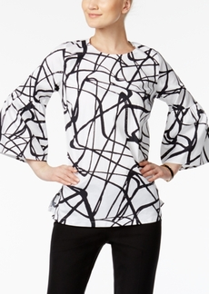Alfani Petite Printed Poet-Sleeve Top, Created for Macy's