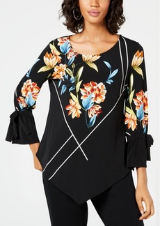 Alfani Petite Printed Tie Sleeves and Pointed Front Top, Created for Macy's