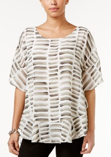 Alfani Printed Poncho Blouse, Only at Macy's