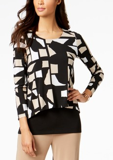 Alfani Petite Geometric-Print Popover Top, Created for Macy's