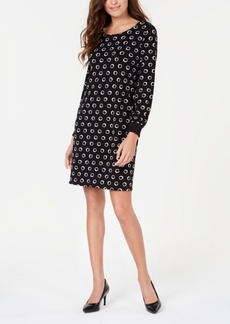 Alfani Printed Ribbed-Cuff A-Line Dress, Created for Macy's
