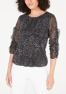 Alfani Printed Ruched-Sleeve Mesh Bubble Top, Created for Macy's