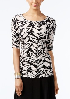 Alfani Printed Ruched-Sleeve Top, Only at Macy's