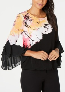 Alfani Printed Ruffle-Sleeve Bubble Top, Created for Macy's