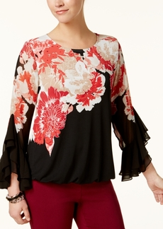 Alfani Petite Printed Ruffle-Sleeve Blouse, Created for Macy's
