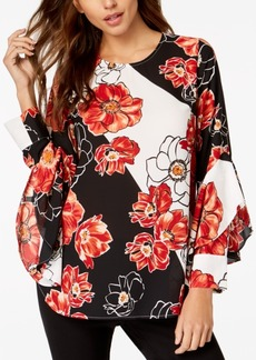 Alfani Petite Printed Ruffle Sleeve Blouse, Created for Macy's