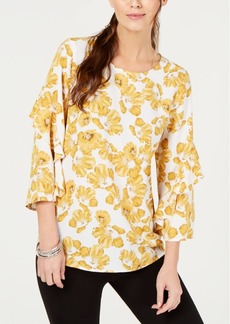 Alfani Printed Ruffled-Sleeve Zip-Back Top, Created for Macy's