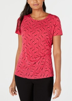 Alfani Printed Side-Drape Top, Created for Macy's