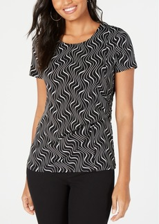 Alfani Printed Side-Drape Top, Created for Macy's