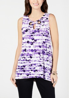 Alfani Printed Sleeveless Grommet Top, Created for Macy's