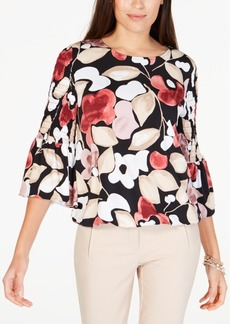 Alfani Printed Smock-Sleeve Bubble Top, Created for Macy's