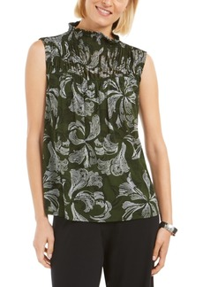 Alfani Printed Smocked Mock-Neck Top, Created for Macy's