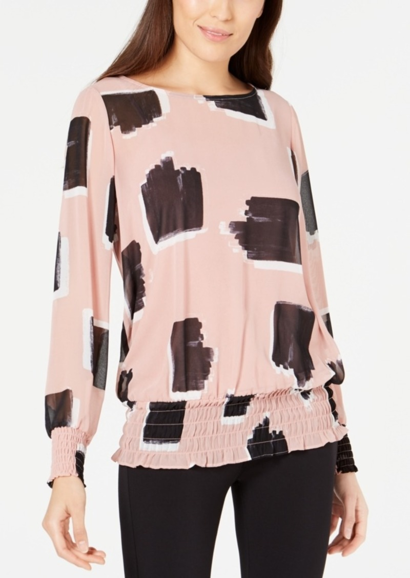 Alfani Printed Smocked Top, Created for Macy's
