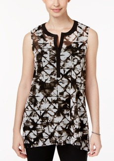 Alfani Printed Split-Neck Top, Created for Macy's