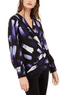 Alfani Printed Surplice Top, Created For Macy's