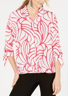 Alfani Printed Tie-Cuff Blouse, Created for Macy's