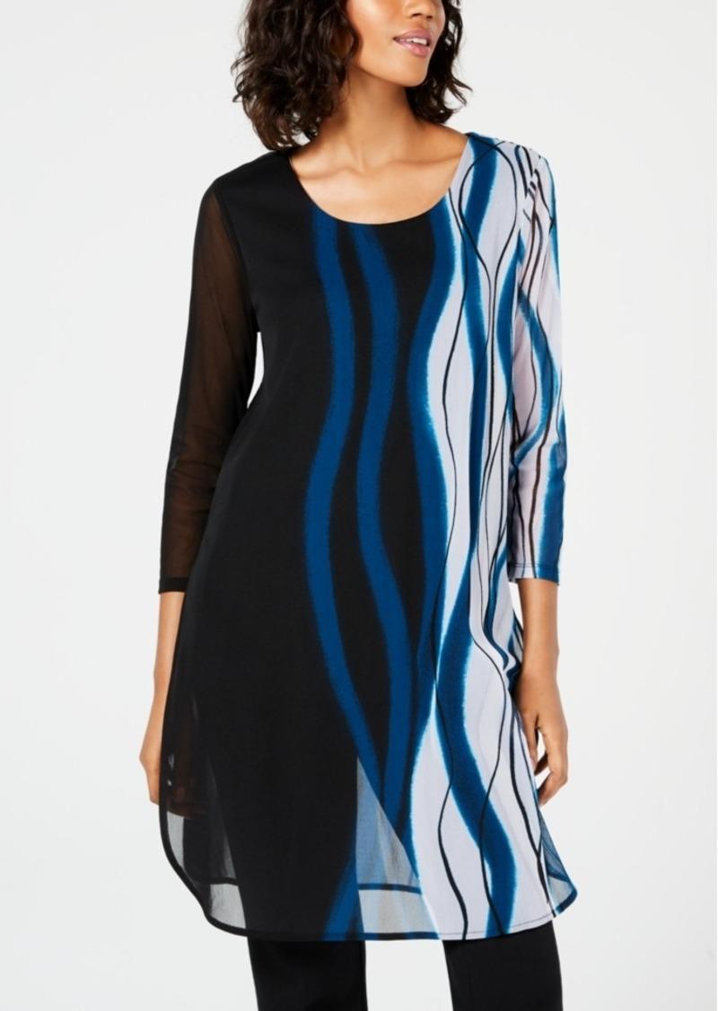 Alfani Petite Printed Mesh Tunic, Created for Macy's
