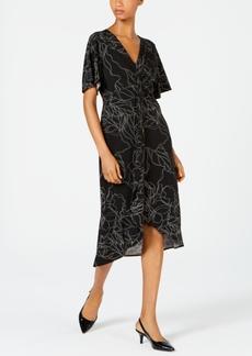 Alfani Printed Twist-Front Midi Dress, Created for Macy's