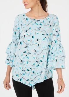 Alfani Printed V-Hem Flounce Top, Created for Macy's