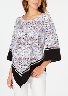 Alfani Printed V-Hem Top, Created for Macy's
