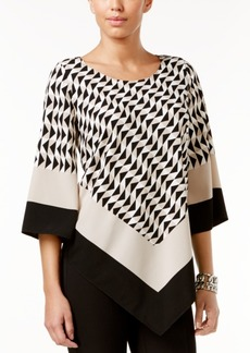 Alfani Printed V-Hem Top, Only at Macy's