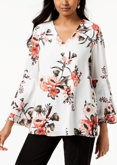 Alfani Printed Bell-Sleeve Blouse, Created for Macy's