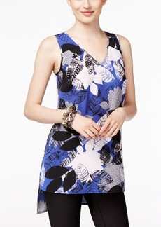Alfani Petite Printed High-Low Swing Top, Only at Macy's