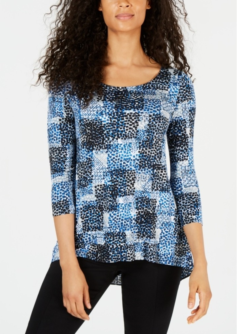 Alfani Printed Woven-Back Top, Created for Macy's