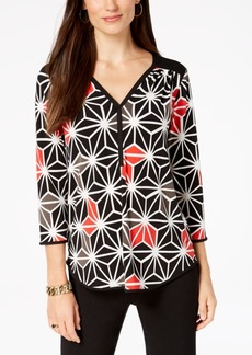 Alfani Petite Printed Split-Neck Top, Created for Macy's
