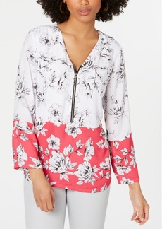 Alfani Printed Zip-Front Top, Created for Macy's