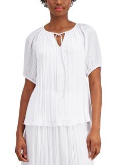 Alfani Puff-Sleeve Crinkle Top, Created for Macy's