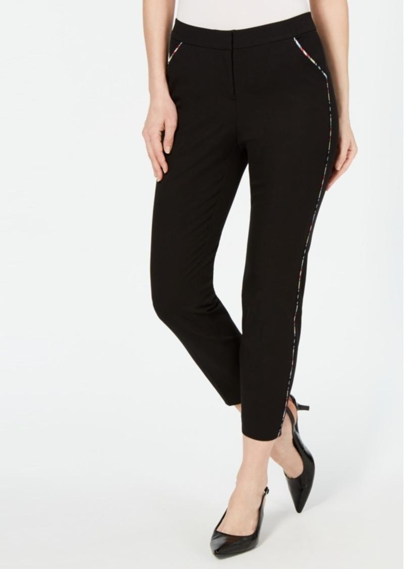 Alfani Rainbow-Trim Slim Ankle Pants, Created for Macy's